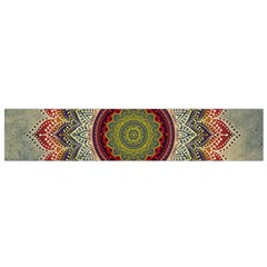 Folk Art Lotus Mandala Dirty Blue Red Flano Scarf (small) by EDDArt