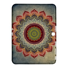 Folk Art Lotus Mandala Dirty Blue Red Samsung Galaxy Tab 4 (10 1 ) Hardshell Case
