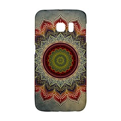 Folk Art Lotus Mandala Dirty Blue Red Galaxy S6 Edge