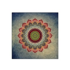 Folk Art Lotus Mandala Dirty Blue Red Satin Bandana Scarf