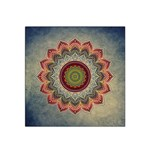 Folk Art Lotus Mandala Dirty Blue Red Satin Bandana Scarf Front