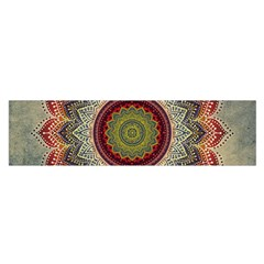 Folk Art Lotus Mandala Dirty Blue Red Satin Scarf (oblong) by EDDArt