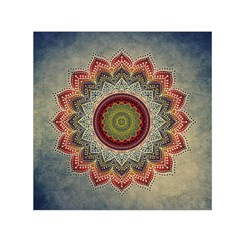 Folk Art Lotus Mandala Dirty Blue Red Small Satin Scarf (square) by EDDArt