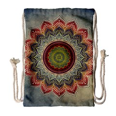 Folk Art Lotus Mandala Dirty Blue Red Drawstring Bag (large) by EDDArt