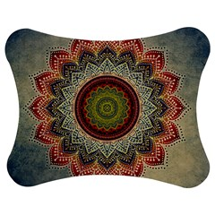 Folk Art Lotus Mandala Dirty Blue Red Jigsaw Puzzle Photo Stand (bow) by EDDArt