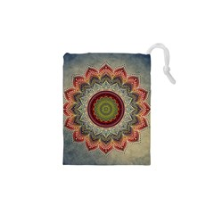 Folk Art Lotus Mandala Dirty Blue Red Drawstring Pouches (xs)