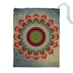 Folk Art Lotus Mandala Dirty Blue Red Drawstring Pouches (xxl) by EDDArt