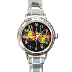 Crazy Multicolored Double Running Splashes Horizon Round Italian Charm Watch by EDDArt