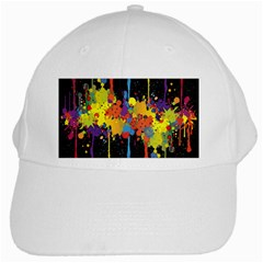 Crazy Multicolored Double Running Splashes Horizon White Cap by EDDArt