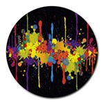 Crazy Multicolored Double Running Splashes Horizon Round Mousepads Front