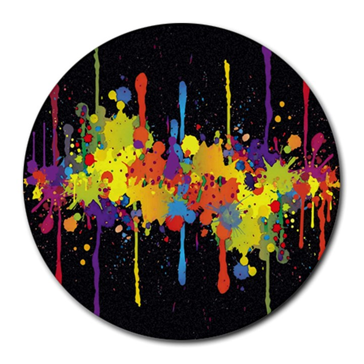 Crazy Multicolored Double Running Splashes Horizon Round Mousepads