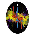 Crazy Multicolored Double Running Splashes Horizon Ornament (Oval)  Front