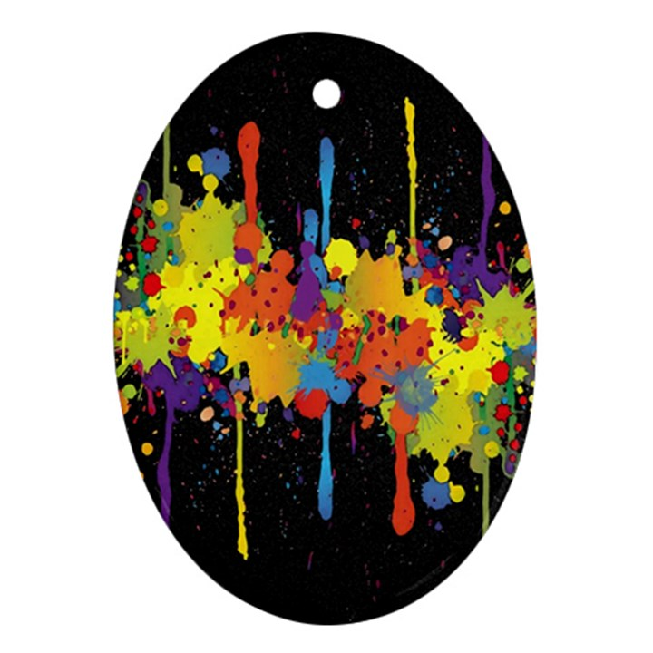 Crazy Multicolored Double Running Splashes Horizon Ornament (Oval)