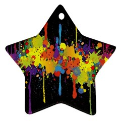 Crazy Multicolored Double Running Splashes Horizon Ornament (star)