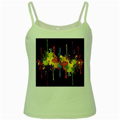 Crazy Multicolored Double Running Splashes Horizon Green Spaghetti Tank by EDDArt