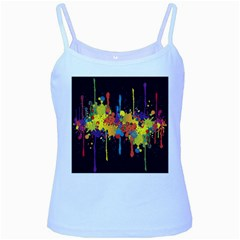 Crazy Multicolored Double Running Splashes Horizon Baby Blue Spaghetti Tank