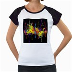 Crazy Multicolored Double Running Splashes Horizon Women s Cap Sleeve T Front