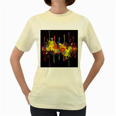 Crazy Multicolored Double Running Splashes Horizon Women s Yellow T Shirt