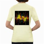 Crazy Multicolored Double Running Splashes Horizon Women s Yellow T-Shirt Back