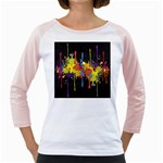 Crazy Multicolored Double Running Splashes Horizon Girly Raglans