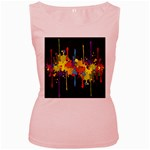 Crazy Multicolored Double Running Splashes Horizon Women s Pink Tank Top Front
