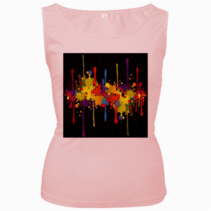 Crazy Multicolored Double Running Splashes Horizon Women s Pink Tank Top