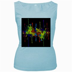 Crazy Multicolored Double Running Splashes Horizon Women s Baby Blue Tank Top by EDDArt