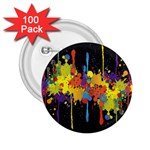 Crazy Multicolored Double Running Splashes Horizon 2.25  Buttons (100 pack)  Front