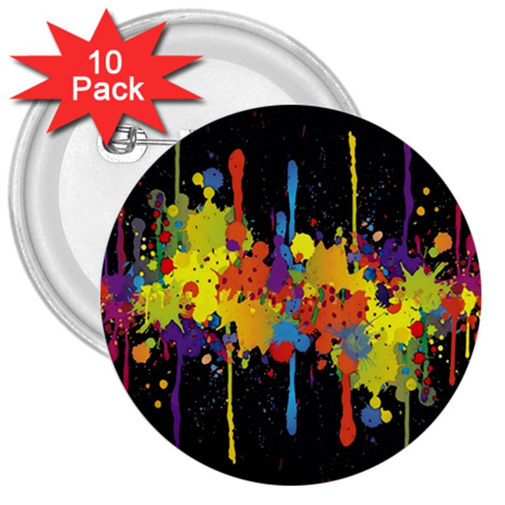 Crazy Multicolored Double Running Splashes Horizon 3  Buttons (10 pack)