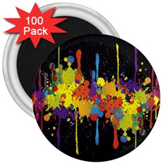 Crazy Multicolored Double Running Splashes Horizon 3  Magnets (100 Pack) by EDDArt