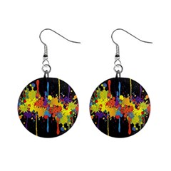 Crazy Multicolored Double Running Splashes Horizon Mini Button Earrings