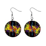 Crazy Multicolored Double Running Splashes Horizon Mini Button Earrings Front