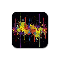 Crazy Multicolored Double Running Splashes Horizon Rubber Coaster (square)  by EDDArt