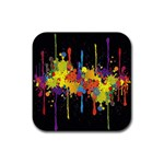 Crazy Multicolored Double Running Splashes Horizon Rubber Square Coaster (4 pack)  Front