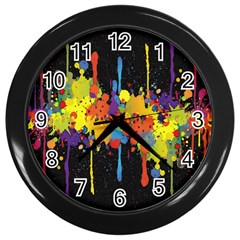Crazy Multicolored Double Running Splashes Horizon Wall Clocks (black)