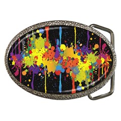 Crazy Multicolored Double Running Splashes Horizon Belt Buckles