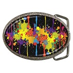 Crazy Multicolored Double Running Splashes Horizon Belt Buckles Front