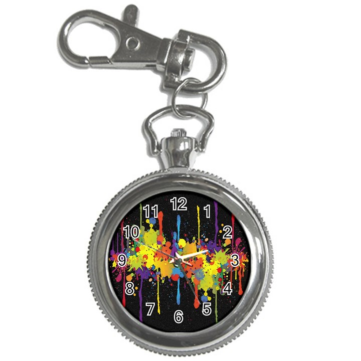 Crazy Multicolored Double Running Splashes Horizon Key Chain Watches