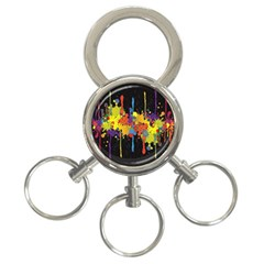 Crazy Multicolored Double Running Splashes Horizon 3 Ring Key Chains
