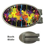 Crazy Multicolored Double Running Splashes Horizon Money Clips (Oval)  Front