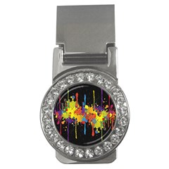 Crazy Multicolored Double Running Splashes Horizon Money Clips (cz)