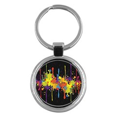 Crazy Multicolored Double Running Splashes Horizon Key Chains (round)  by EDDArt