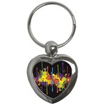 Crazy Multicolored Double Running Splashes Horizon Key Chains (Heart)
