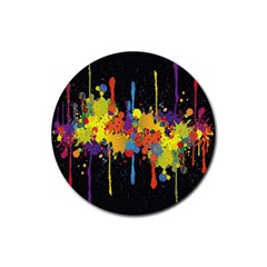Crazy Multicolored Double Running Splashes Horizon Rubber Coaster (round)  by EDDArt