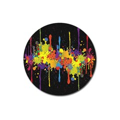 Crazy Multicolored Double Running Splashes Horizon Magnet 3  (round) by EDDArt