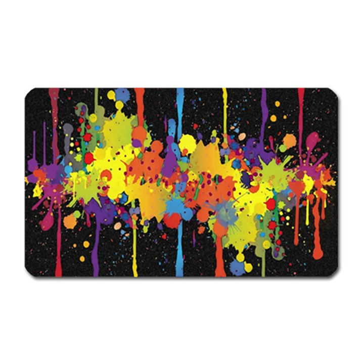 Crazy Multicolored Double Running Splashes Horizon Magnet (Rectangular)