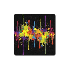 Crazy Multicolored Double Running Splashes Horizon Square Magnet by EDDArt