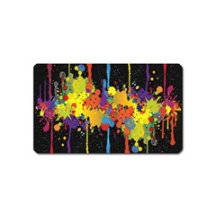 Crazy Multicolored Double Running Splashes Horizon Magnet (name Card) by EDDArt