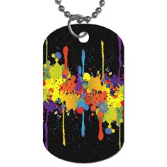Crazy Multicolored Double Running Splashes Horizon Dog Tag (one Side) by EDDArt