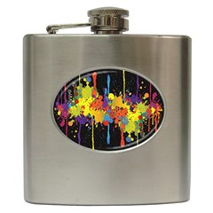 Crazy Multicolored Double Running Splashes Horizon Hip Flask (6 Oz) by EDDArt